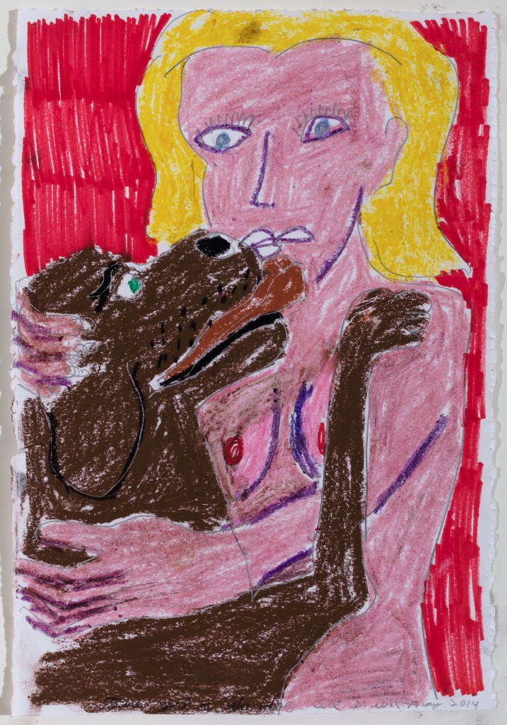 A Woman's Best Friend, 2014, Crayon and Pen on Paper, 12 x 8''