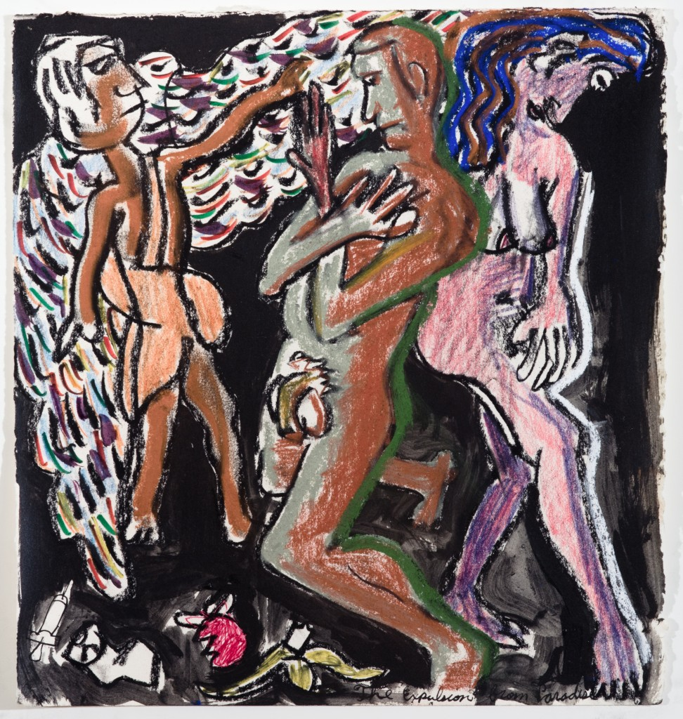 Adam and Eve Expelled, 2014, Chalk on Paper, 11 x11''