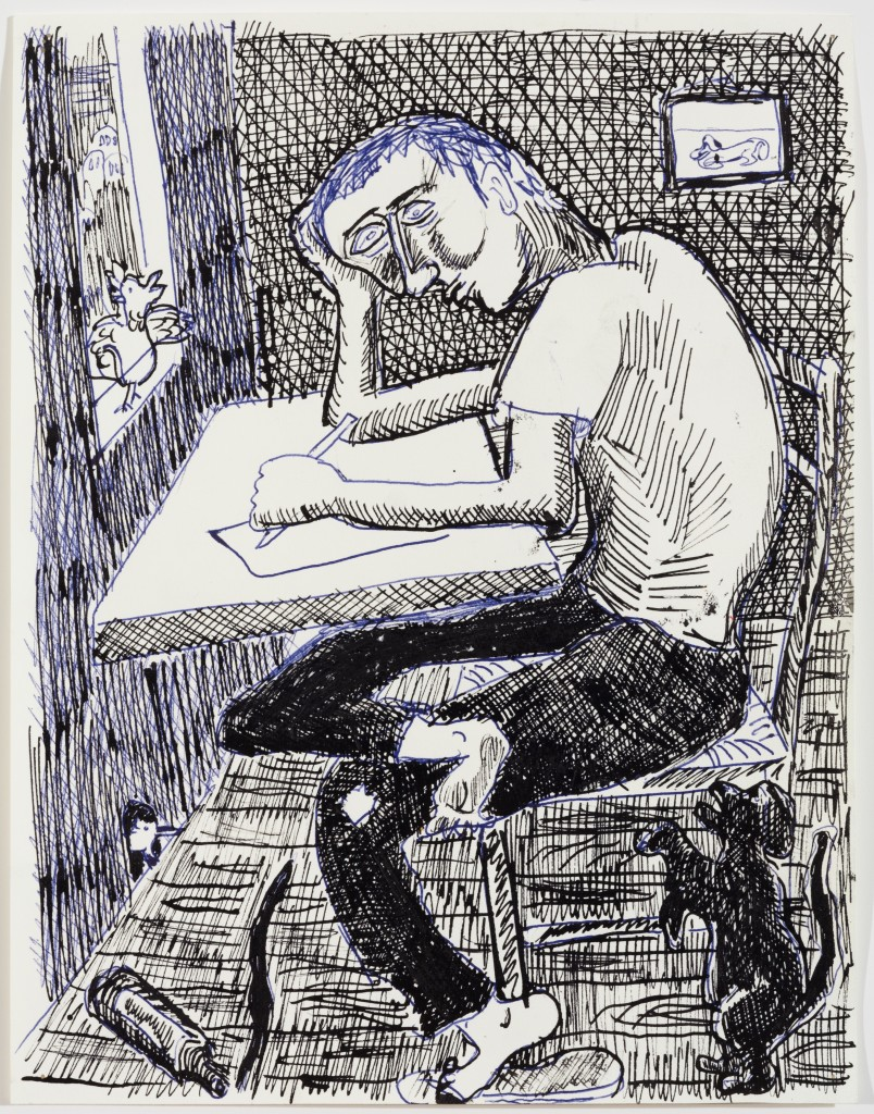 Artist at Desk, 2014, Ink on Paper, 12 x 9''