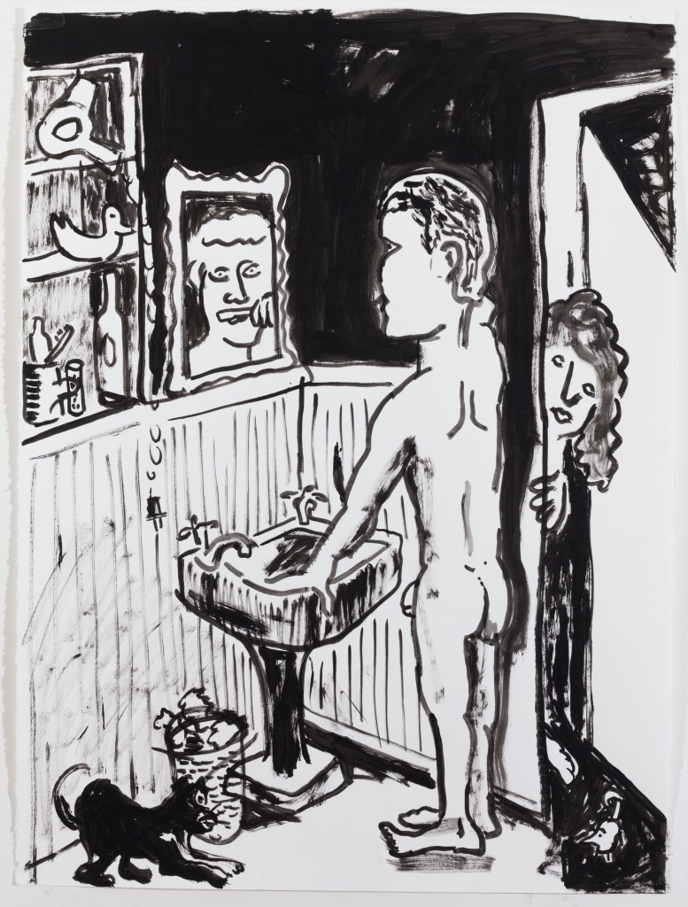 Brushing the Teeth, 2014, Ink on Paper, 30 x 22''