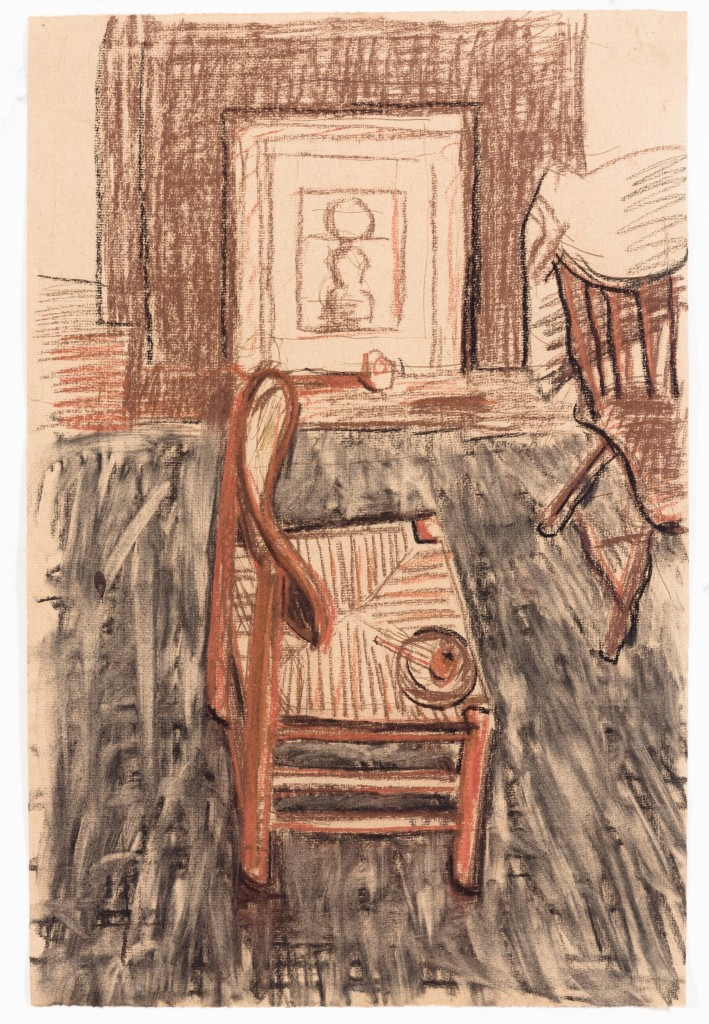 Drawing of Chair, 2014, Chalk on Paper, 13 x 10''