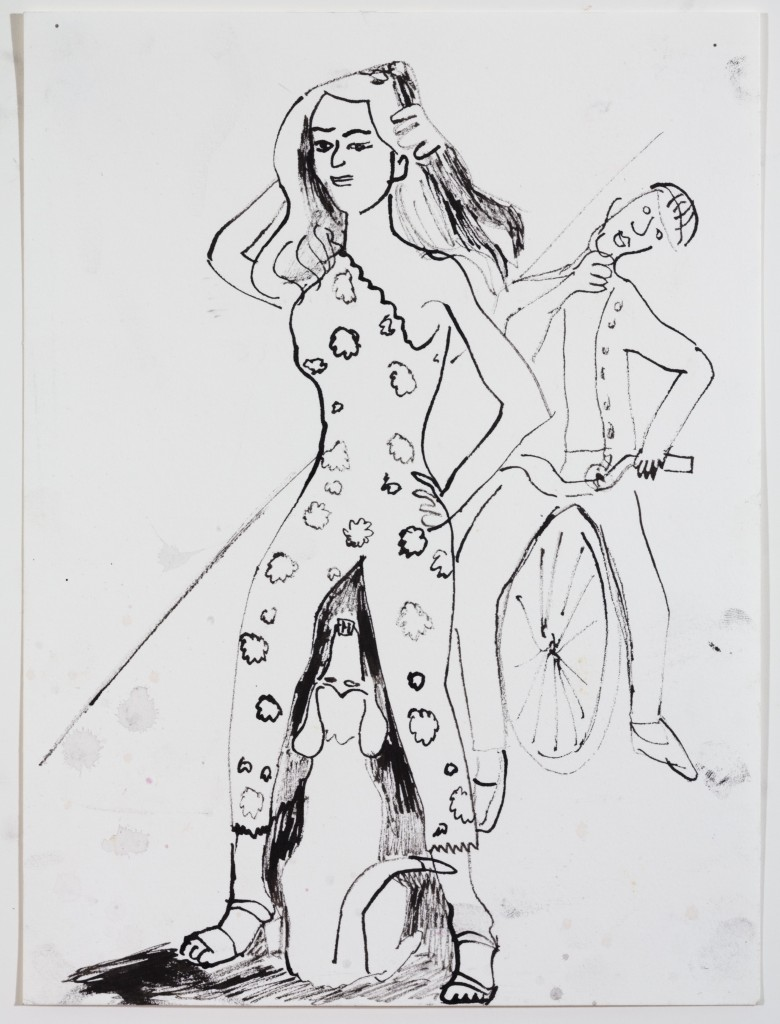 Fashion Lady, 2014, Ink on Paper, 12 x 9''
