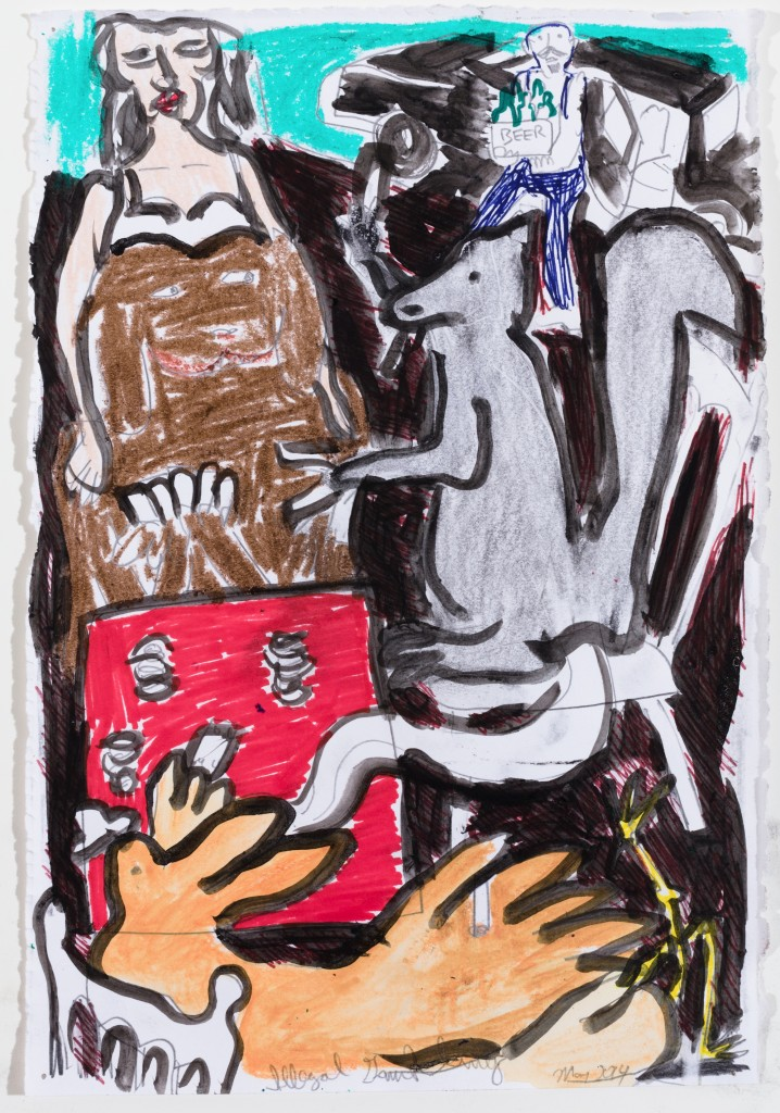 Game Players, 2014, Ink and Crayon on Paper, 12 x 8''