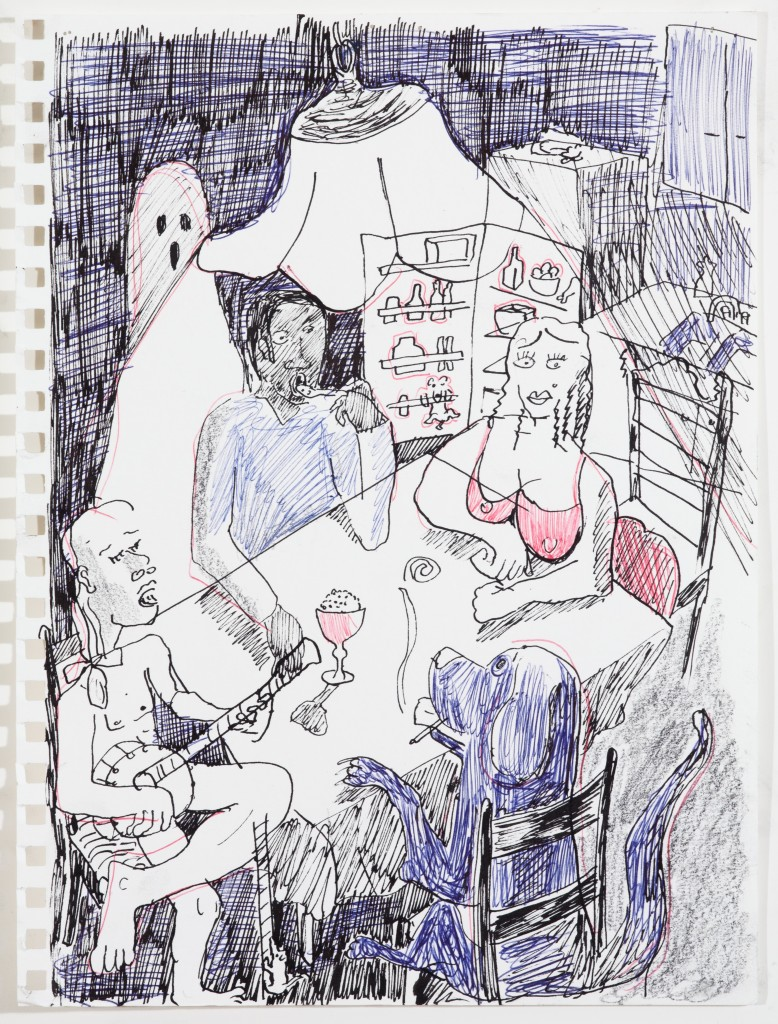 Kitchen Scene, 2014, Pen on Paper, 12 x 8''