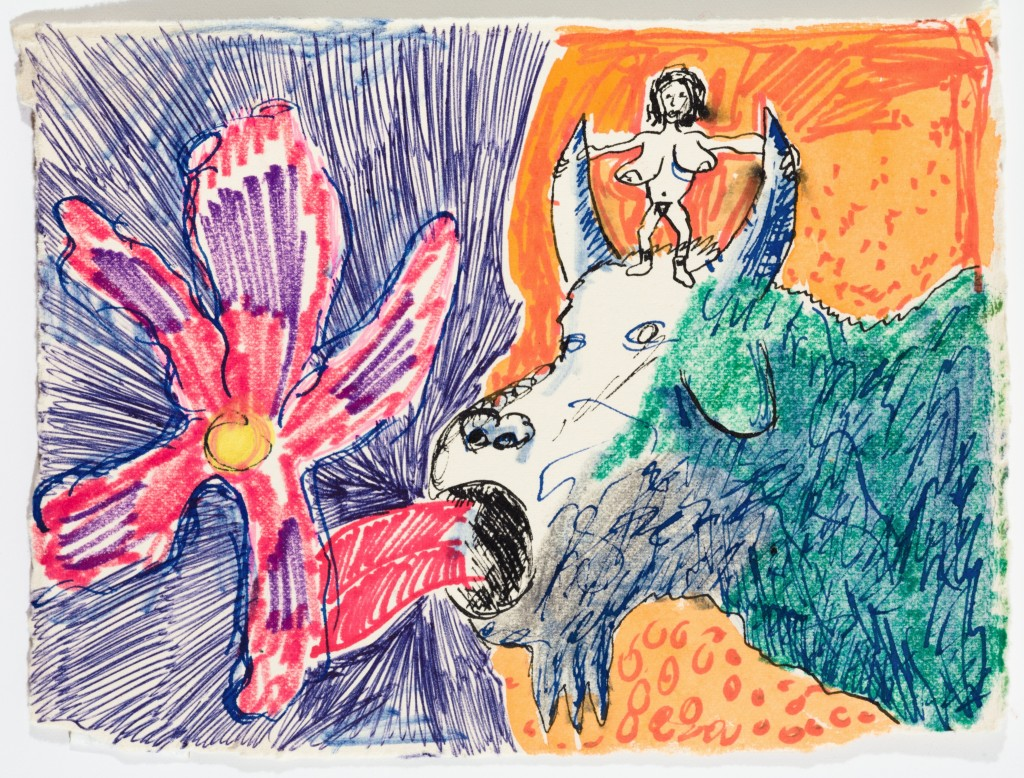 Little Lady on Cow Licking Flower, 2014, Pen and Marker on Paper, 5 x 7''