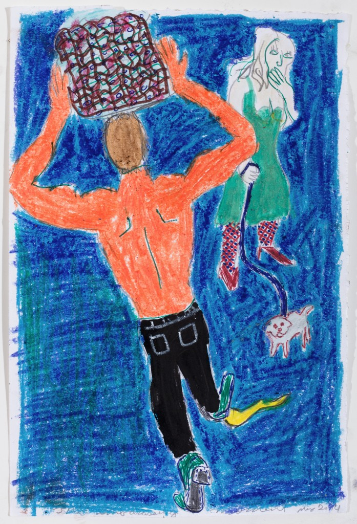 Man Carrying Basket, 2014, Crayon and pen on Paper, 12 x 8''