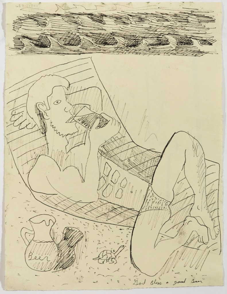 Man Reclined on Beach, 2014, Ink on Paper, 12 x 8''