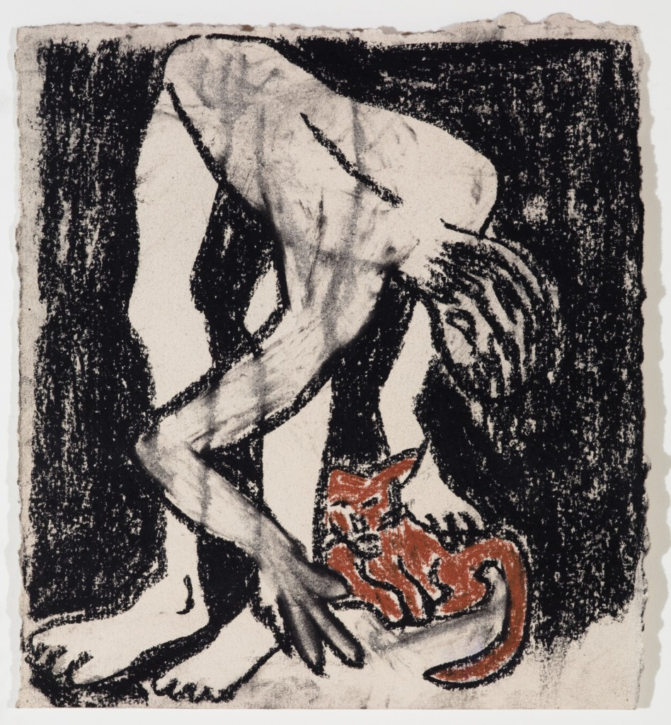 Man and Kitten, 2014, Chalk on Paper, 9 x 9''