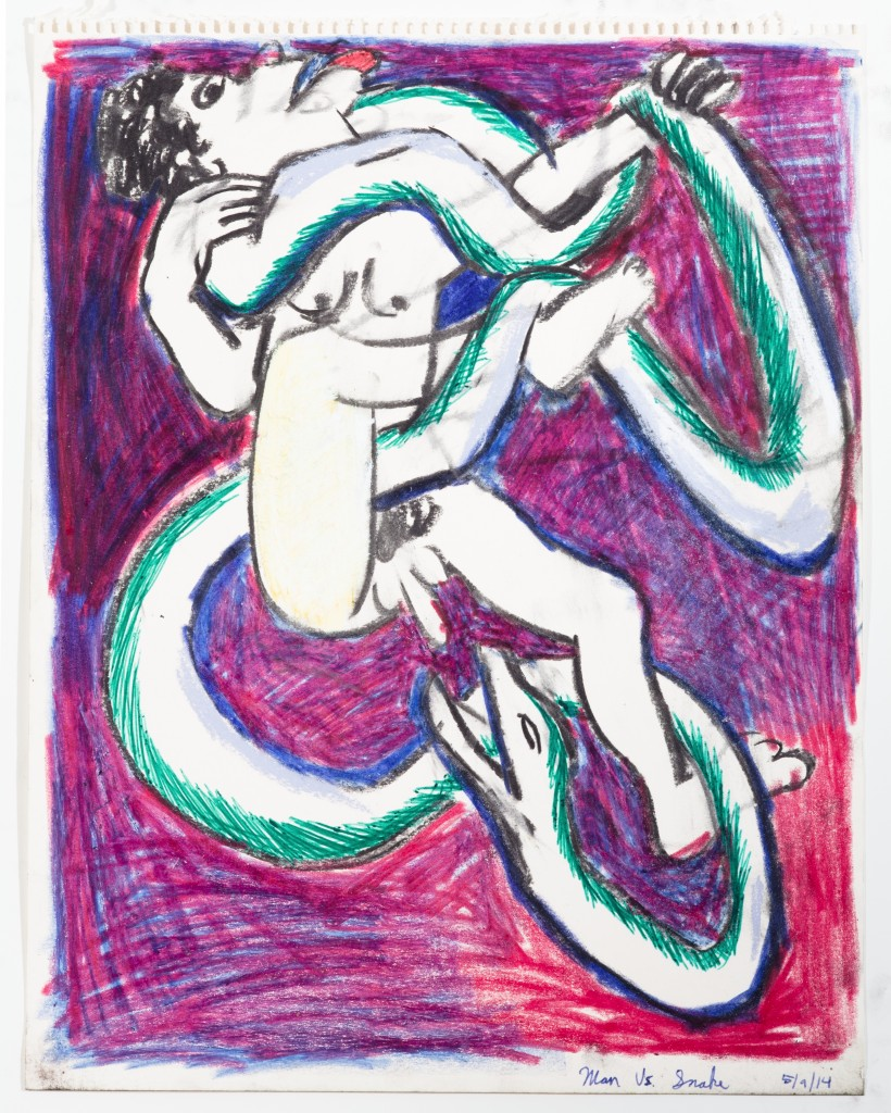 Man vs Snake (Laocoon), 2014, Pencil and Crayon, 14 x 10''