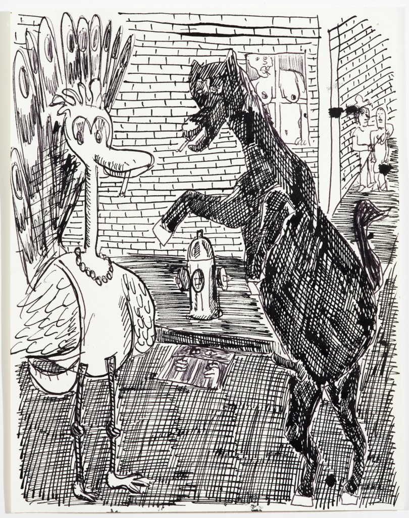 Peacock and Horse on Hind Legs, 2014, Ink on Paper, 12 x 9''