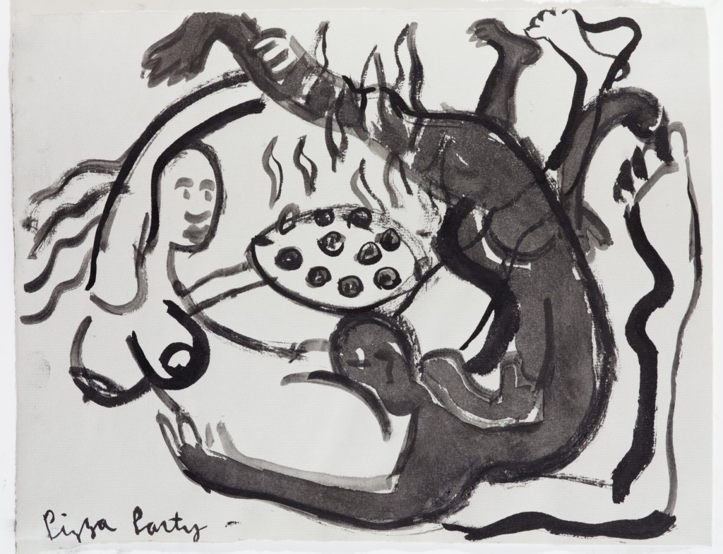 Pizza Party, 2014, Ink on Paper, 9 x 12''