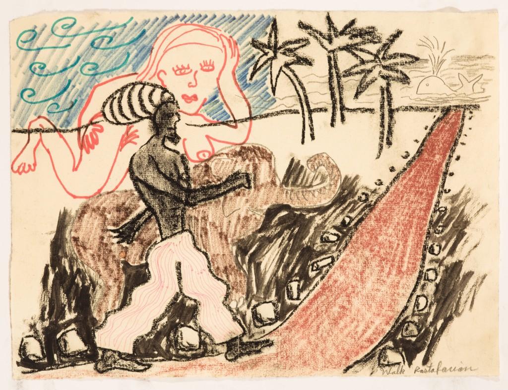 Walk Rastafarian, 2013, Chalk and Marker on Paper, 8 x 12''