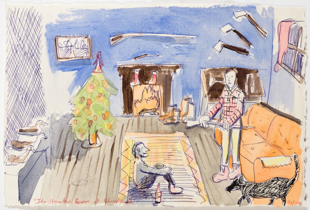 The Hunter's Room at Christmas, 2014, Watercolor on Paper, 8 x 12''