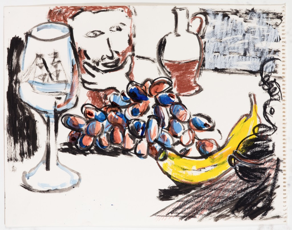 Still Life with Grapes, Banana, Man, and Ape, 2014, Ink and Chalk on Paper, 12 x 16''