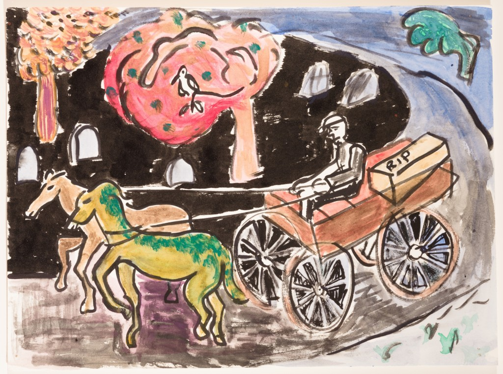 The Coffin Carriage, 2014, Watercolor on Paper, 9 x 12''