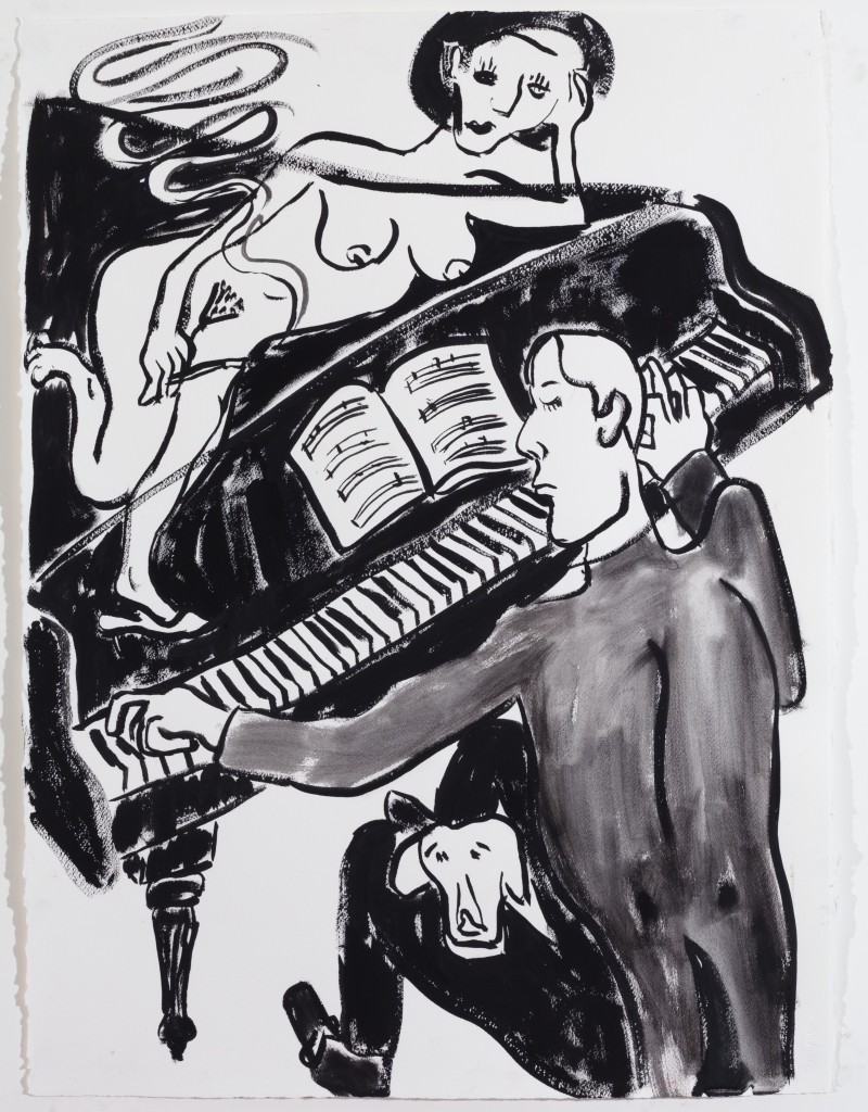The Pianist, 2014, Ink on Paper, 30 x 22''