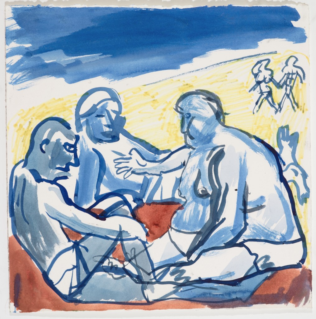 Three Russian Bathers, 2013, Watercolor on Paper, 11 x 11''