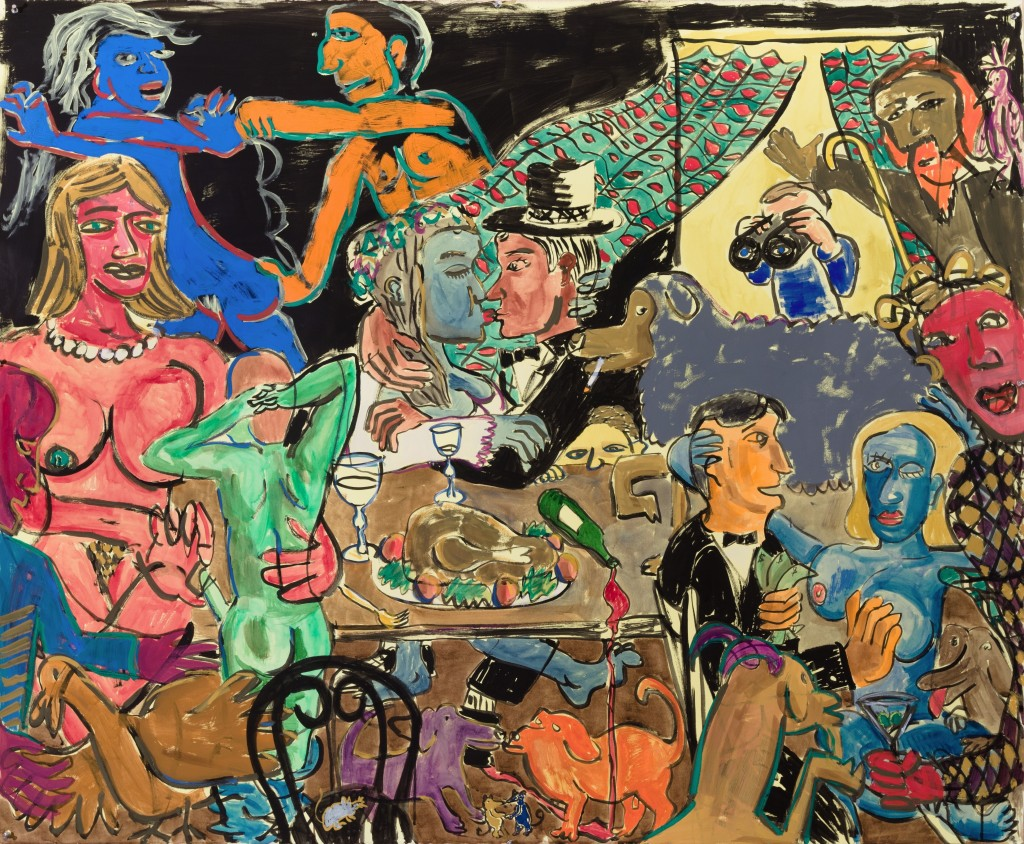 Wedding Party, 2014, Watercolor on paper, 60 x 72""