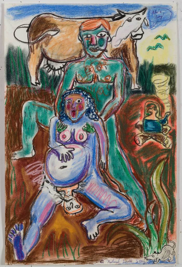 A Natural Birth Story, 2015, watercolor, pastel on paper, 19 x 12 in.