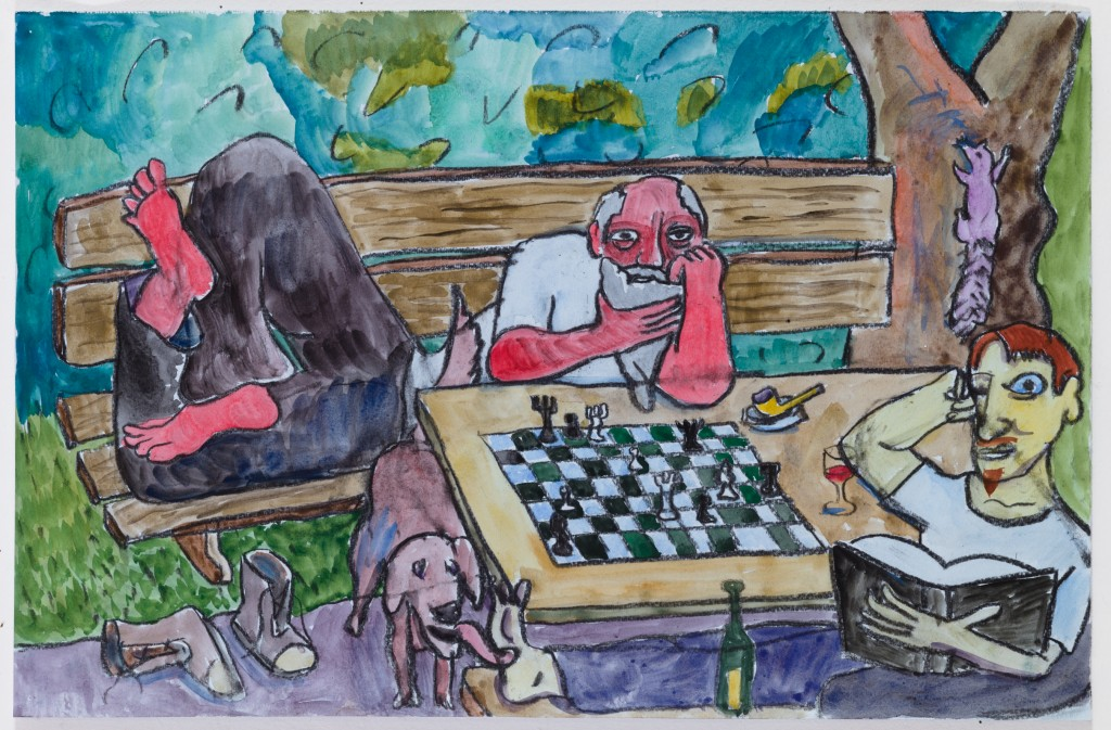 Chess Players in Park, 2015, watercolor, pastel on paper, 12 x 19 in.