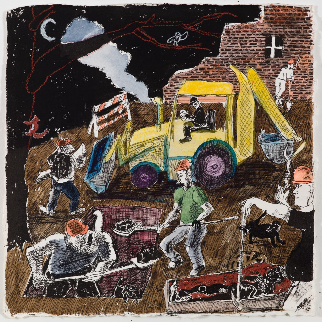 Construction Workers Digging a Grave at Night, 2015, ink, pastel on paper, 12 x 12 in.