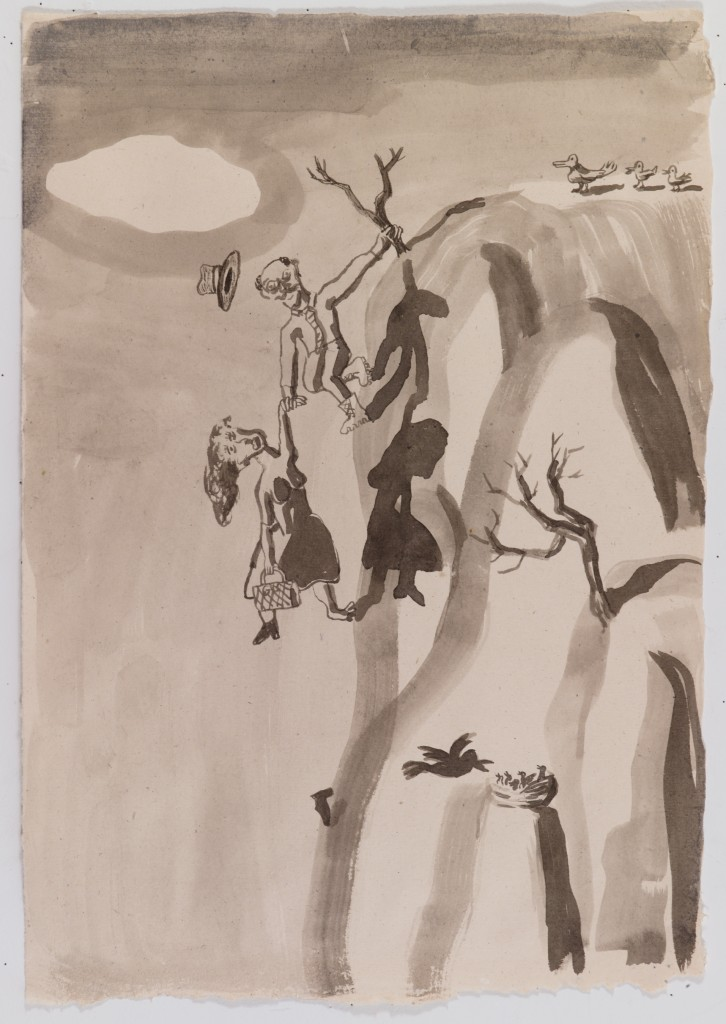 Couple Hanging Off Cliff, 2015, ink on paper, 22 x 15 in.