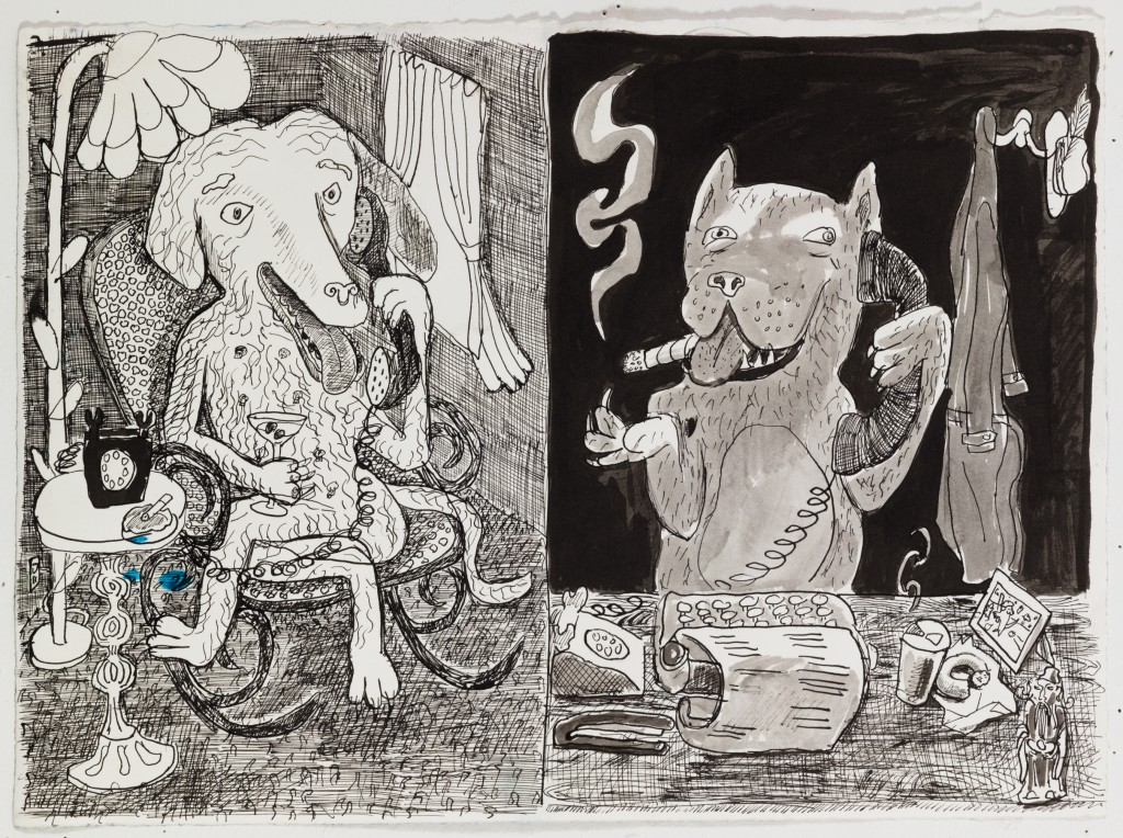 Dogs Talking on Phone, 2015, ink on paper, 12 x 16 in.