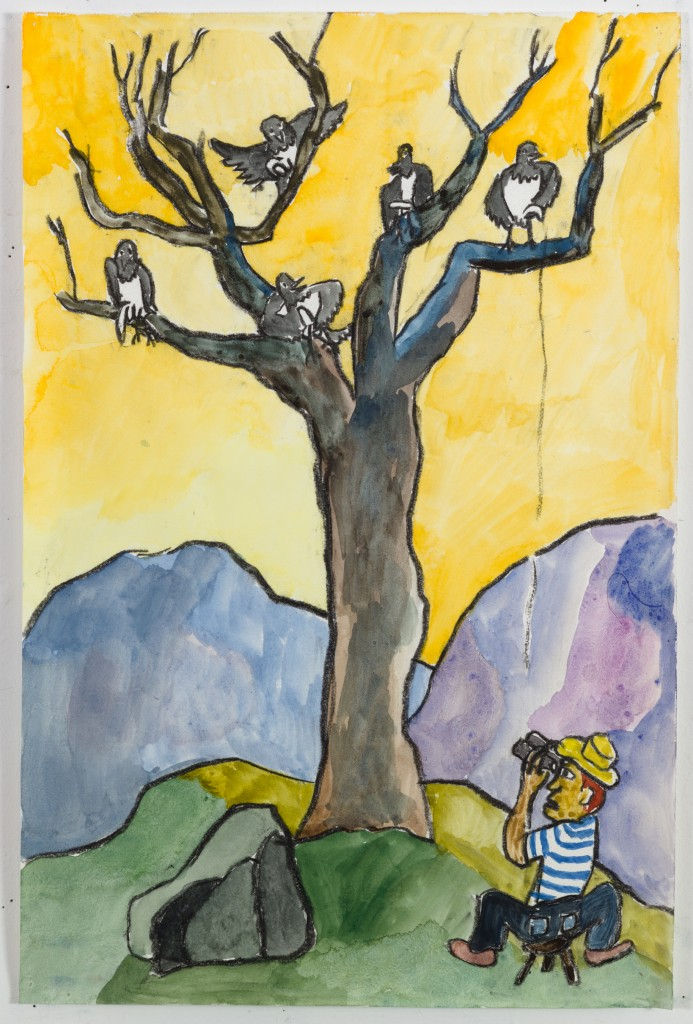 Five Birds in a Tree, 2016, watercolor, pastel on paper, 19 x 12 in.