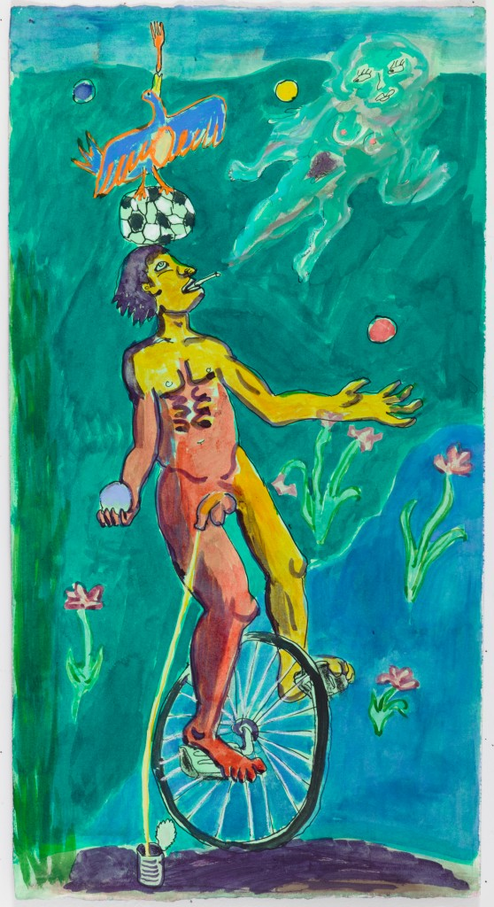 Juggler on Unicycle, 2015, ink, pastel on paper, 22 x 11.5 in.