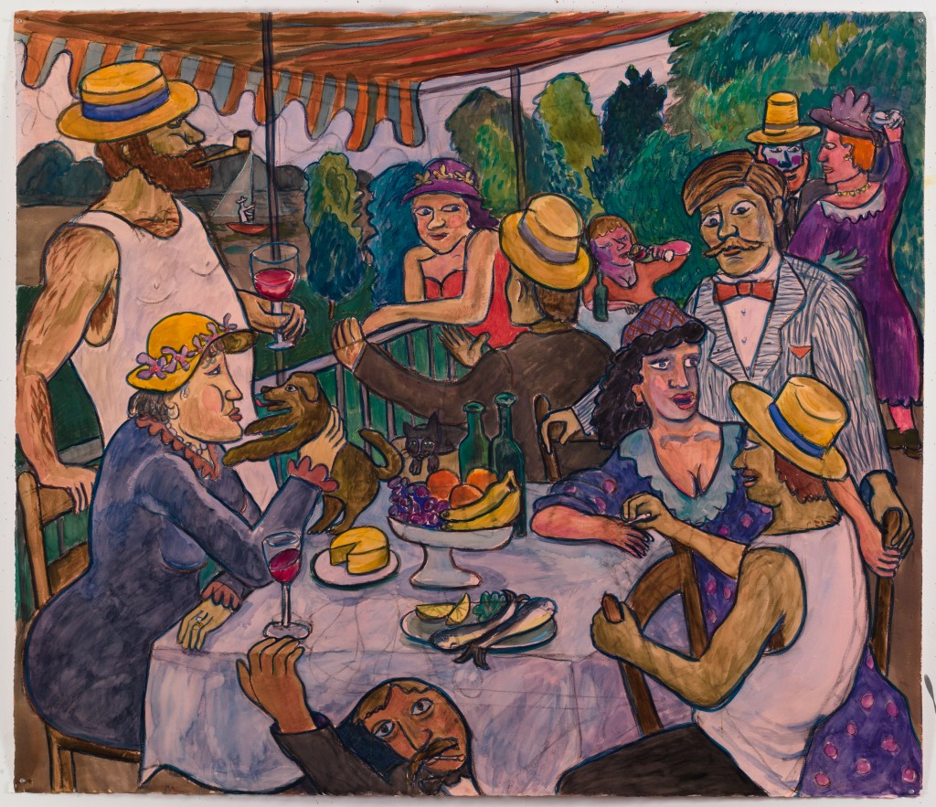 Luncheon of the Boating Party, 2016, watercolor, gouache, pastel on paper, 51 x 60 in.