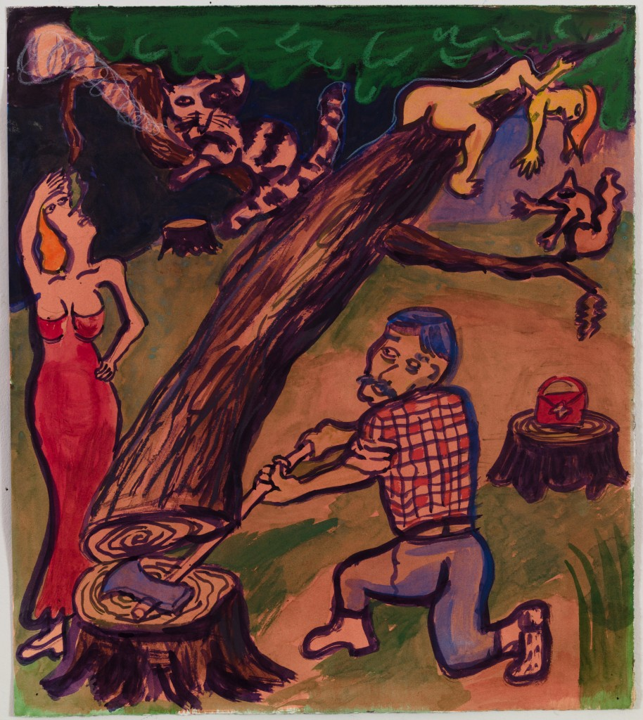 Man Chopping Down Tree, 2015, ink, watercolor, gouache, pastel on paper, 18 x 15.5 in.