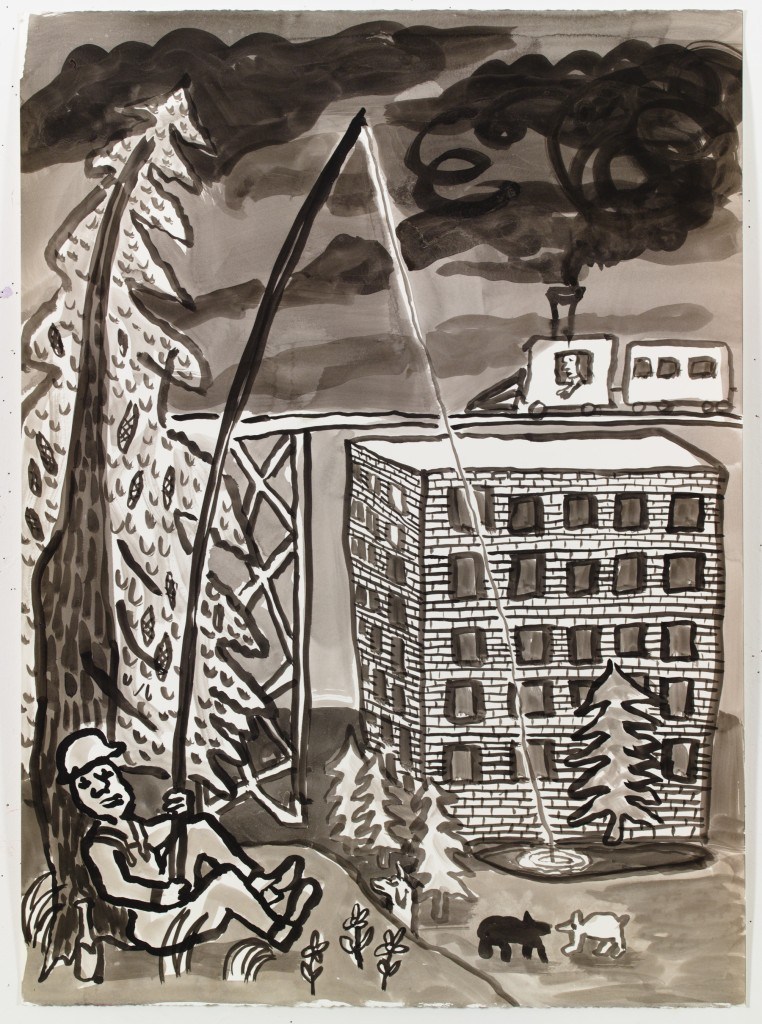 Man Fishing at Development, 2015, ink on paper, 30 x 22 in.