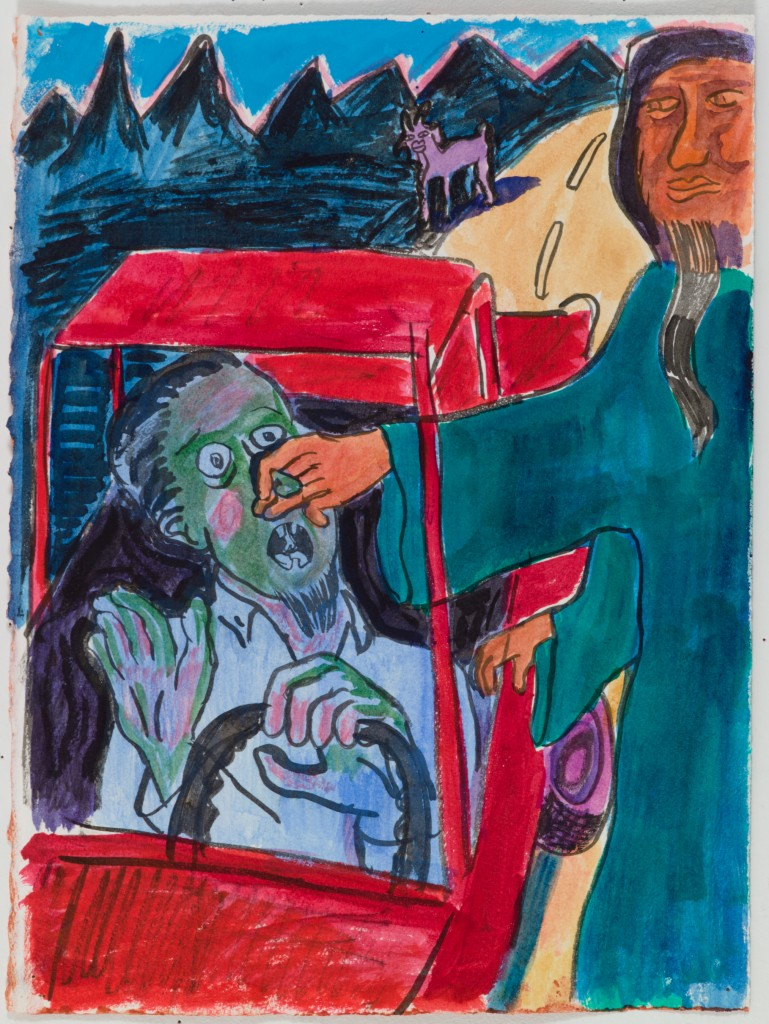 Man Grabbing Driver's Nose, 2015, ink on paper, 15 x 11 in.