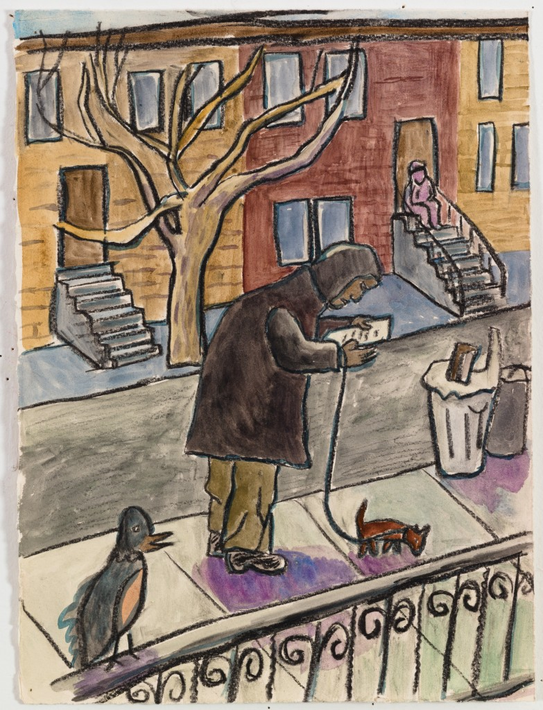 Man Reading Paper while Walking Dog, 2016, watercolor, chalk on paper, 15 x 11 in.