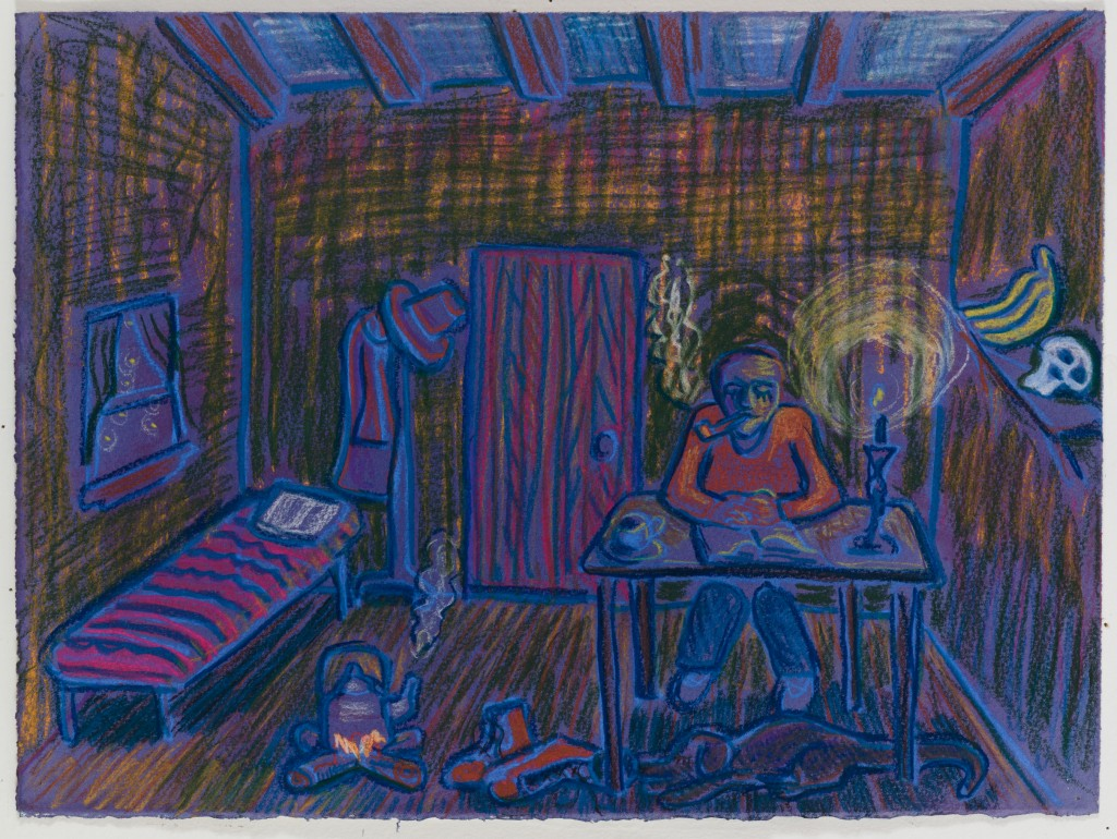 Man Reading by Candlelight, 2016, pastel on paper, 11 x 15 in.