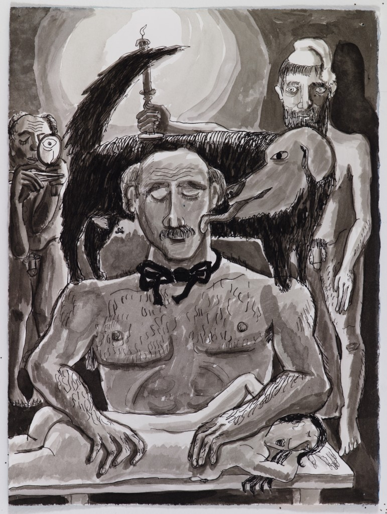 Masseuse by Candlelight, 2015, ink on paper, 15 x 11 in.