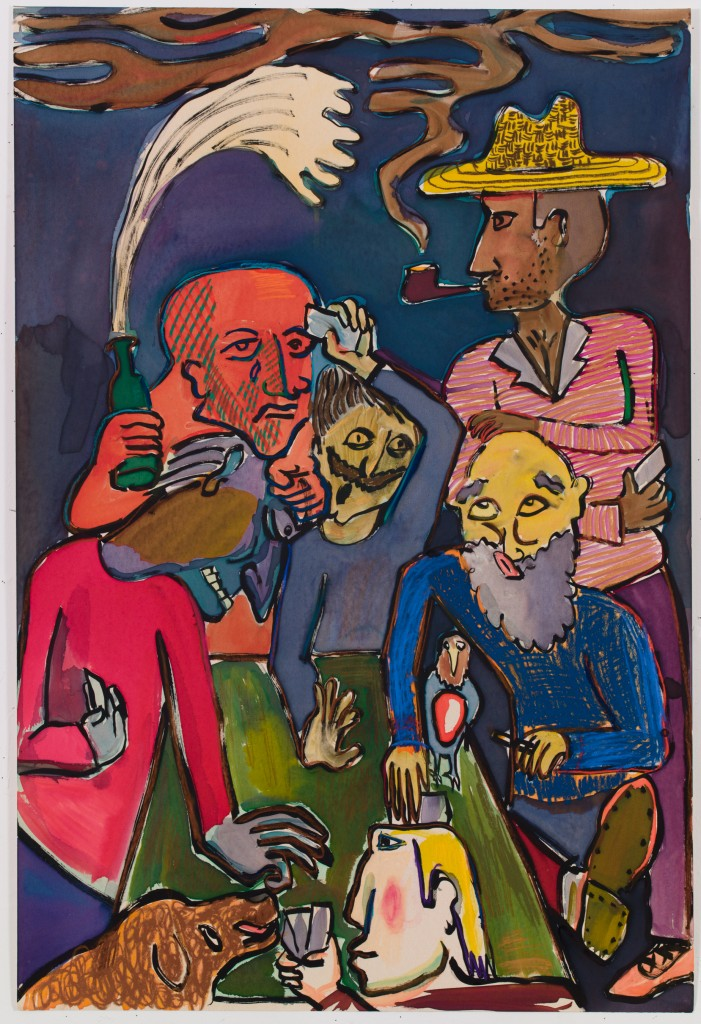 Men Playing Poker, 2015, ink, pastel on paper, 40 x 27 in.