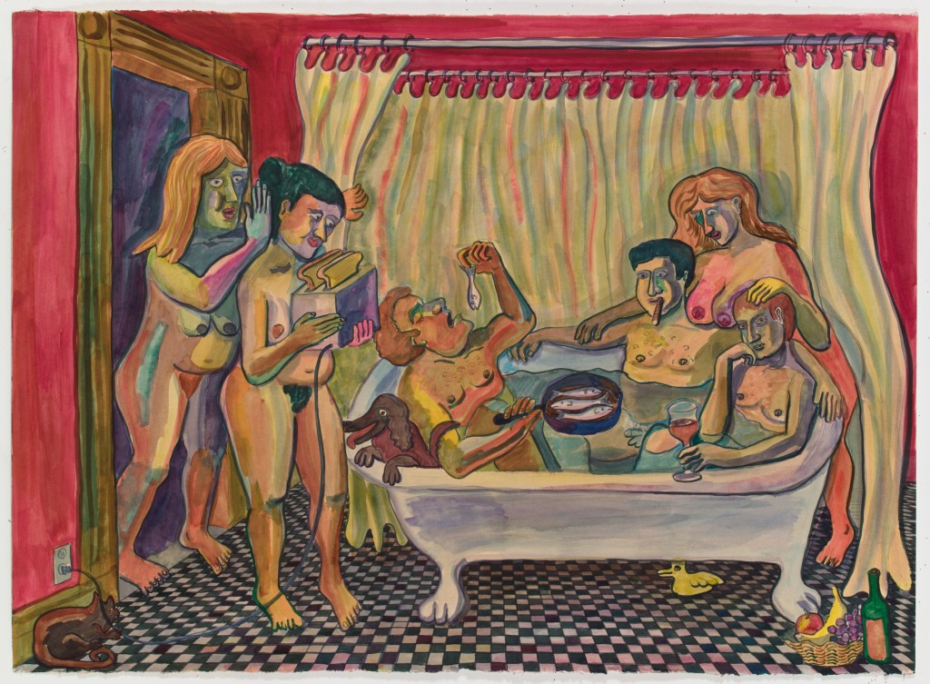 Men in Bathtub, 2015, ink, watercolor on paper, 30 x 41 in.