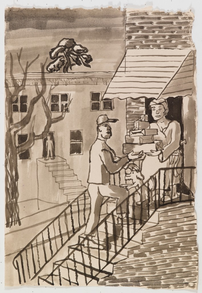 Package Delivery, 2015, ink on paper, 22 x 15 in.