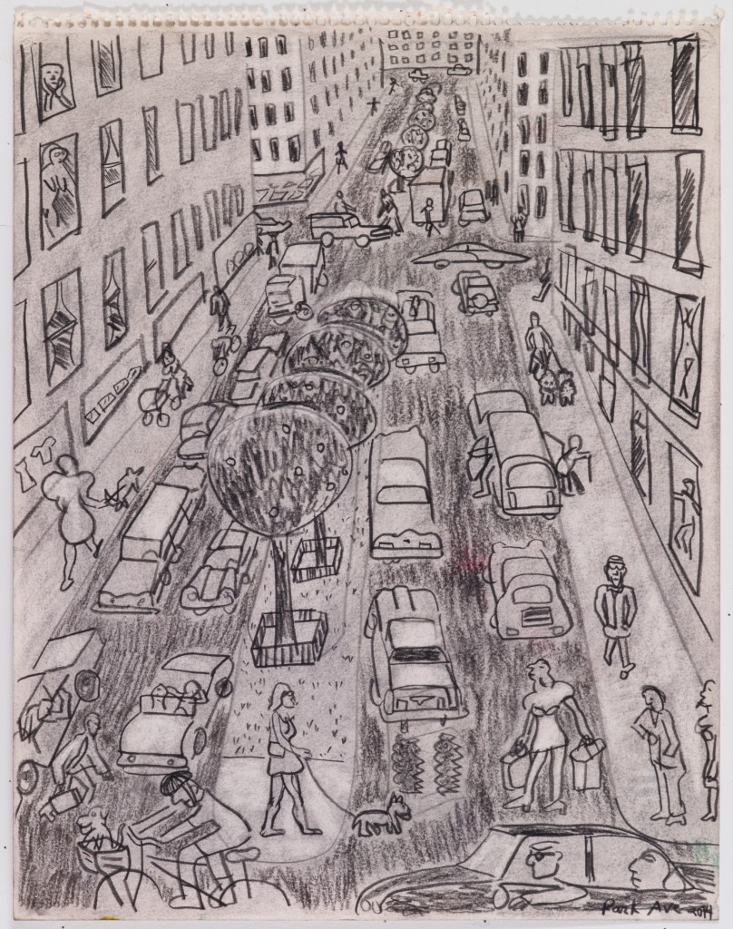 Park Ave, 2015, chalk on paper, 18 x 14 in.