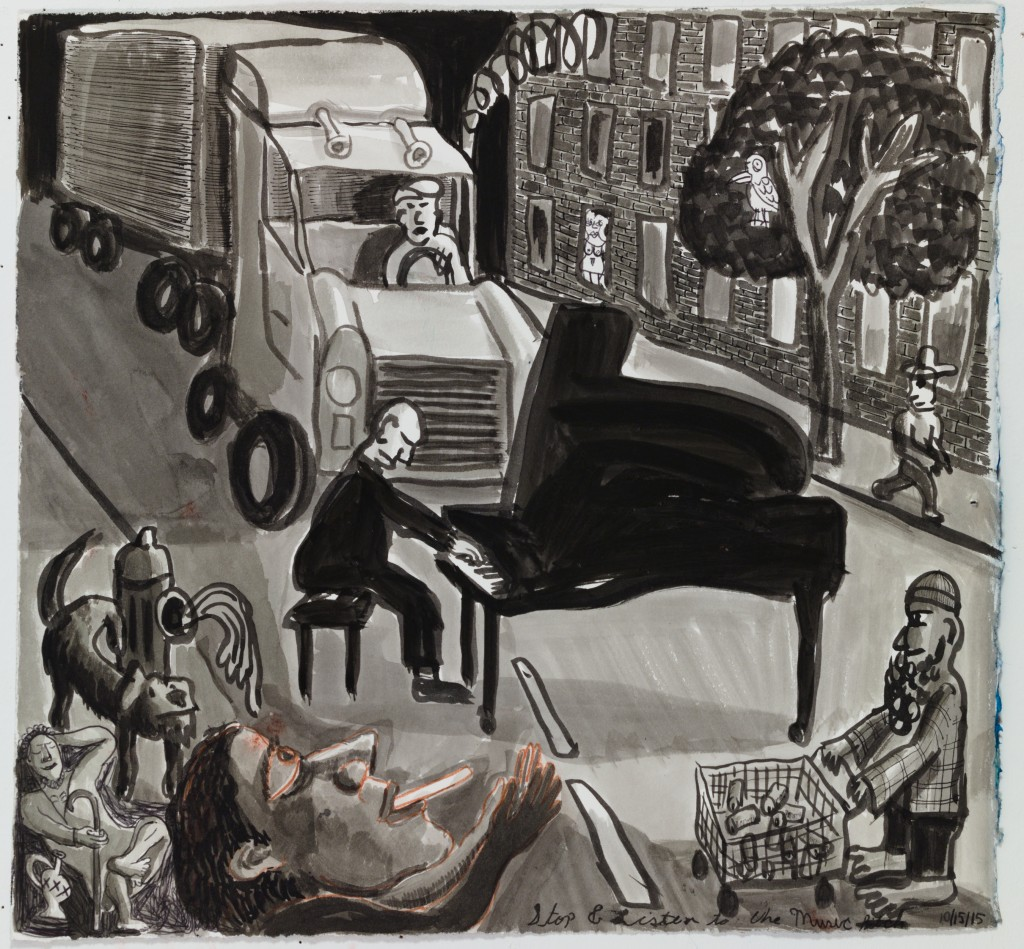 Pianist Performing in Street, 2015, ink, chalk on paper, 15 x 16 in.