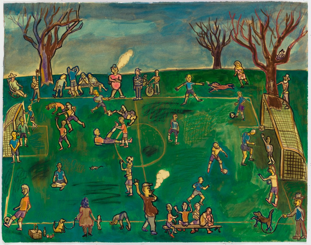 Soccer Match, 2016, watercolor, gouache, pastel on paper, 24 x 30 in.