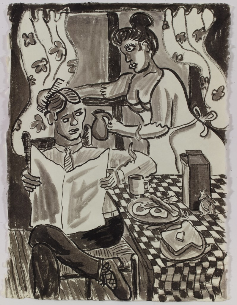 The Married Couple at Breakfast, 2015, ink on paper, 35 x 26 in.