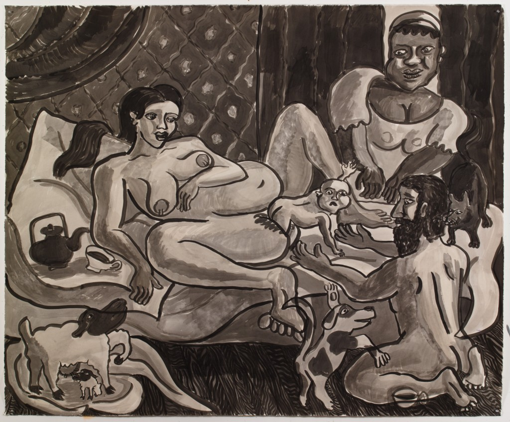 The Natural Home Birth, 2015, ink on paper, 60 x 73 in.