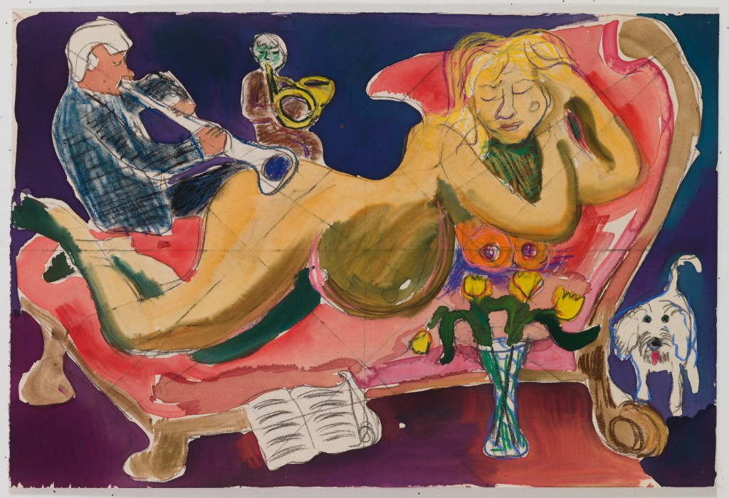 Woman Reclining (w/ Musicians), 2015, ink, pastel on paper, 14 x 20 in.
